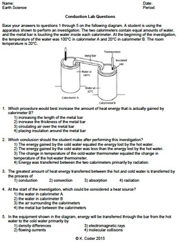 Worksheet - Conduction Lab Questions *Editable*