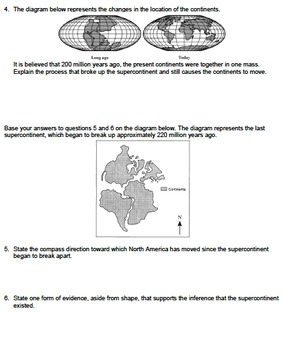 Worksheet - Continental Drift (Constructed Response) *EDITABLE*