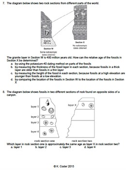 Worksheet - Correlation of Bedrock Layers *EDITABLE*