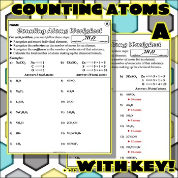 Worksheet: Counting Atoms V... by Travis Terry | Teachers Pay Teachers