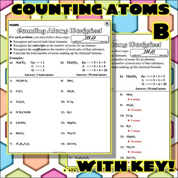 Worksheet: Counting Atoms Version B by Travis Terry | TpT