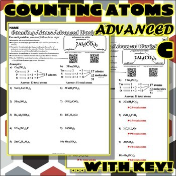 Worksheet: Counting Atoms ADVANCED Version C by Travis Terry | TpT