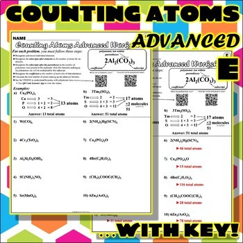 Counting Atoms Worksheet Teaching Resources Teachers Pay Teachers