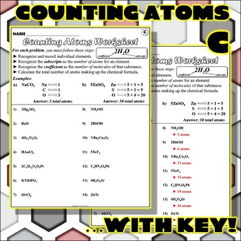 Worksheet: Counting Atoms Version C by Travis Terry | TpT