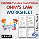 Worksheet Current, Voltage, Resistance and Ohm's Law