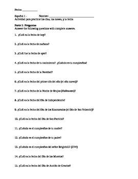 Days Months Dates in Spanish Worksheet