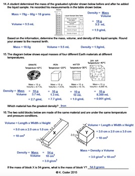 Worksheet - Density Calculations (Editable)