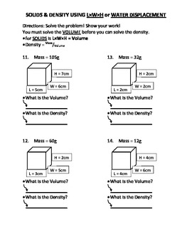 Worksheet: Density Drill and Practice 2