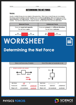 Worksheet - Determining the Net Force, Balanced and Unbalanced Forces