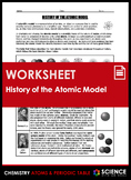 Worksheet - History of the Atomic Model