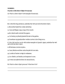 Worksheet: Direct Objects and Direct Object Pronouns (Spanish)