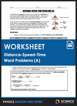 Worksheet - Distance Speed Time Word Problems (Part 1)