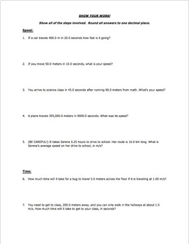worksheet distance speed time word problems part 1 by science with mr enns. Black Bedroom Furniture Sets. Home Design Ideas