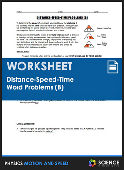 Worksheet - Distance Speed Time Word Problems (Part 2)