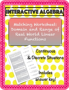 Worksheet Domain and Range of Continuous & Discrete Linear Word Problems