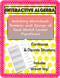 Worksheet Domain and Range of Continuous & Discrete Linear