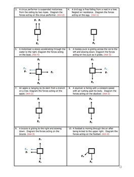 Worksheet - Drawing Free Body or Force Diagrams by Science With Mr Enns