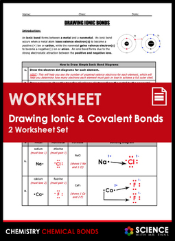 Worksheet - Drawing Ionic & Covalent Bond Diagrams, Part 1 | TpT
