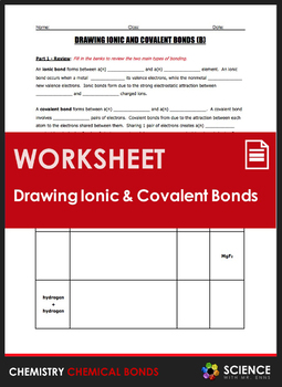 Ionic And Covalent Bond Practice Worksheets & Teaching ...