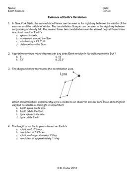 Worksheet - Earth's Revolution *Editable*