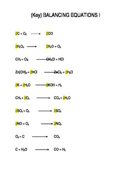 Chemistry Worksheet: Easy Balancing Equations Problems