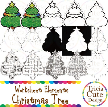 Silhouette Clip Art Worksheet Elements for Tracing Cutting Puzzle Outline