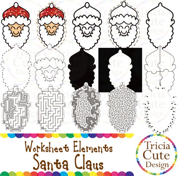 Christmas Clip Art Santa Claus Worksheet Element for Traci