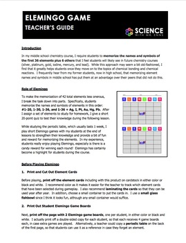 Worksheet - Elemingo or Element Bingo Game