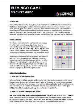 Worksheet - Elemingo or Element Bingo Game