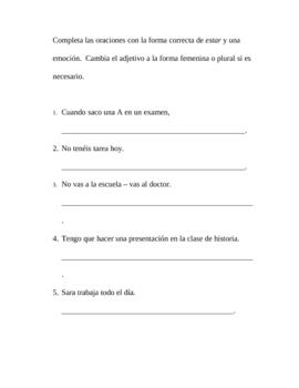 Worksheet - Estar/Emotions