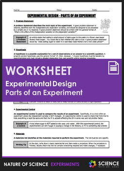 Worksheet - Experimental Design: Parts of an Experiment