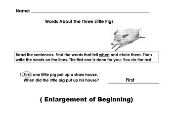 Worksheet Find Adjectives, Adverbs, Time-Order Words about 3 LITTLE PIGS 10 Ques