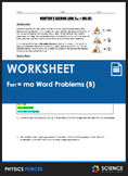 Worksheet - F=MA Word Problems (Part 2)