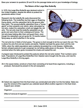 Worksheet - Food Chains Constructed Response *EDITABLE*
