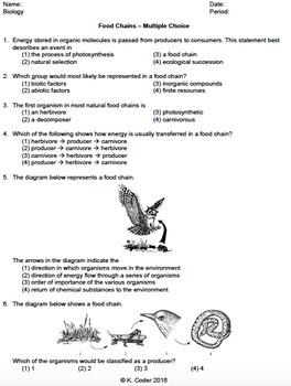 Worksheet - Food Chains Multiple Choice *EDITABLE*