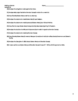 Worksheet For Making a Murderer season 1 episode 10