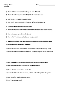 Worksheet For Making a Murderer season 1 episode 3
