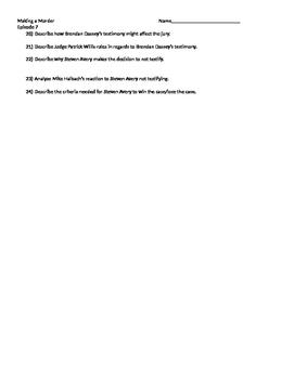 Worksheet For Making a Murderer season 1 episode 7