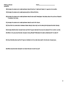 Worksheet For Making a Murderer season 1 episode 8
