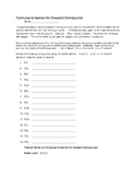 Chemistry Worksheet: Formulas to Names for Covalent Compounds