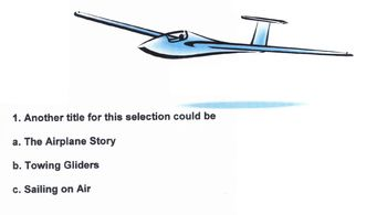 Worksheet GLIDERS IN THE AIR w/10 Multiple Choice Reading Comprehension Vocab Qs