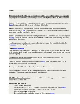 Worksheet Geneva Convention