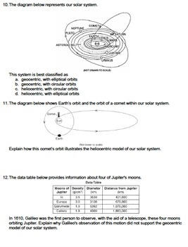 Worksheet - Geocentric vs Heliocentric Model *Editable*