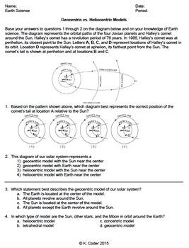Worksheet - Geocentric vs Heliocentric Model *Editable*