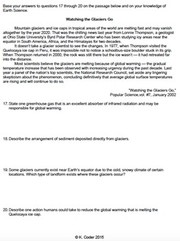 Worksheet - Glacier Erosion... by NYS Earth Science and Living ...