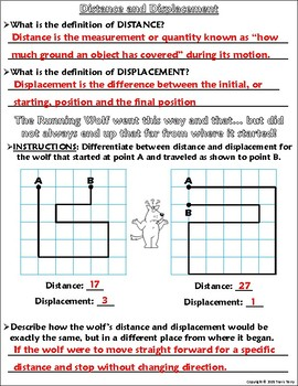 Worksheet: Graphing, Distance, and Displacement w/ The Running Wolf