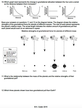 Worksheet - Gravitational Attraction *EDITABLE*