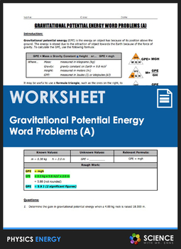 Worksheet - Gravitational Potential Energy (GPE) Word Problems (Part ...