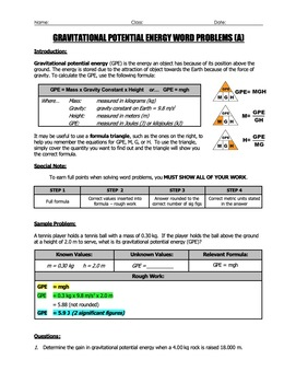 Worksheet - Gravitational Potential Energy (GPE) Word Problems (Part 1)