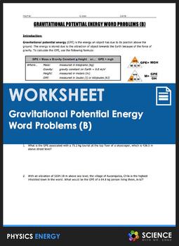Worksheet - Gravitational Potential Energy (GPE) Word Problems (Part ...